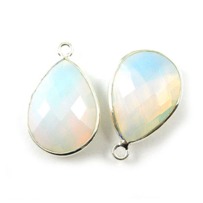 Wholesale Sterling Silver Teardrop Bezel Opalite Quartz Gemstone Pendant, Wholesale Gemstone Pendants for Jewelry Making