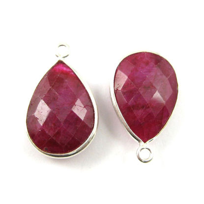 Wholesale Sterling Silver Teardrop Bezel Ruby Dyed Gemstone Pendant, Wholesale Gemstone Pendants for Jewelry Making