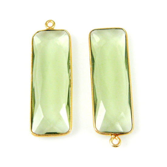 Wholesale Gold plated Sterling Silver Rectangle Bezel Green Amethyst Quartz Gemstone Pendant, Wholesale Gemstone Pendants for Jewelry Making