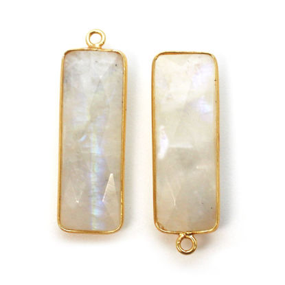 Wholesale Gold plated Sterling Silver Rectangle Bezel Moonstone Gemstone Pendant, Wholesale Gemstone Pendants for Jewelry Making