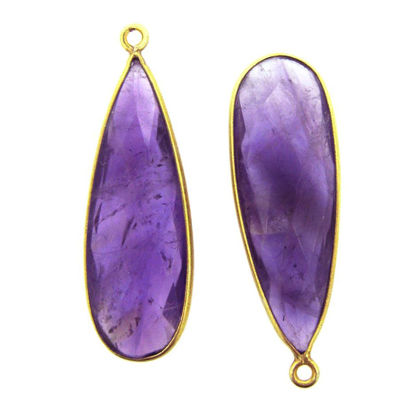 Wholesale Gold plated Sterling Silver Elongated Teardrop Bezel Natural Amethyst Quartz Gemstone Pendant, Wholesale Gemstone Pendants for Jewelry Making