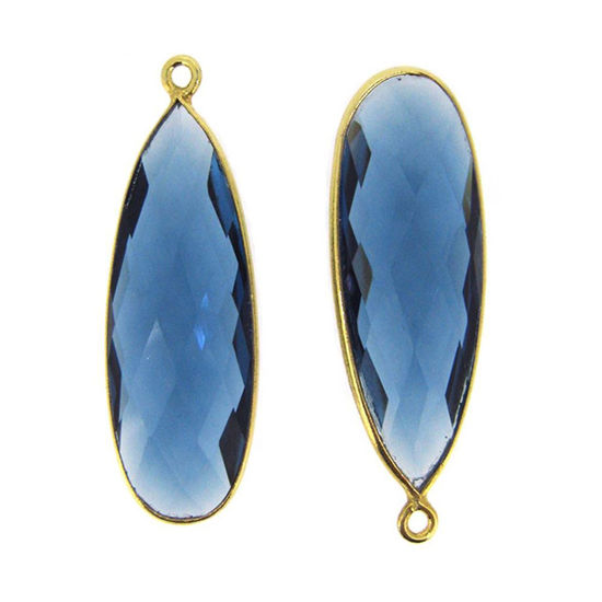 Wholesale Gold plated Sterling Silver Elongated Teardrop Bezel Citrine Quartz Gemstone Pendant, Wholesale Gemstone Pendants for Jewelry Making