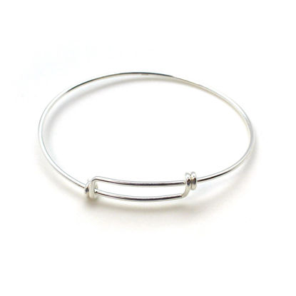 "Wholesale Sterling Silver Adjustable Wire Bangle Bracelet for Charms - 7""-8.5"""