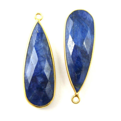 Wholesale Gold plated Sterling Silver Elongated Teardrop Bezel  Blue Sapphire Dyed Gemstone Pendant, Wholesale Gemstone Pendants for Jewelry Making