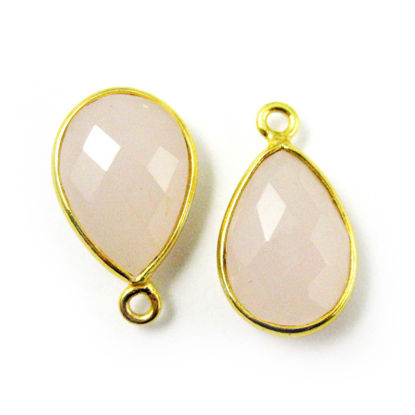 Wholesale Gold plated Sterling Silver Small Teardrop Bezel Pink Chalcedony Gemstone Pendant, Wholesale Gemstone Pendants for Jewelry Making