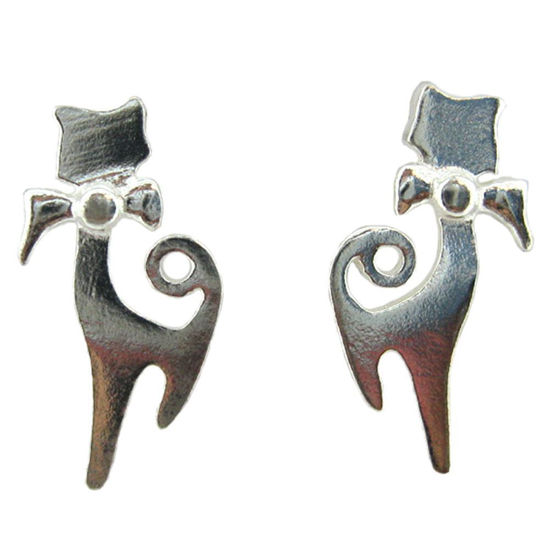 Wholesale Sterling Silver Kitty Cat Earring Studs for Jewelry Making, Wholesale Earwire and Findings