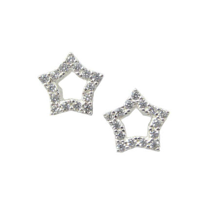 Wholesale Sterling Silver CZ Stone Pvae Star Studs for Jewelry Making, Wholesale Earwire and Findings