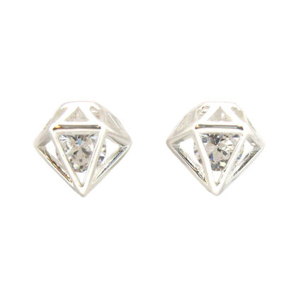 Wholesale Sterling Silver Caged CZ Cubic Zirconia Stud Earrings for Jewelry Making, Wholesale Earwire and Findings