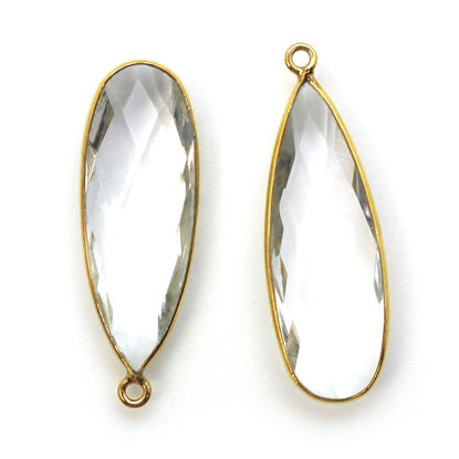 Wholesale Gold plated Sterling Silver Elongated Teardrop Bezel Crystal Quartz Gemstone Pendant, Wholesale Gemstone Pendants for Jewelry Making