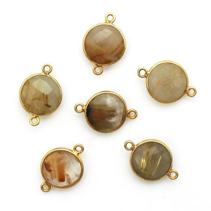Wholesale Bezel Gemstone Links - Gold Plated Sterling Silver - Faceted Coin Shape - Gold Rutilated Quartz