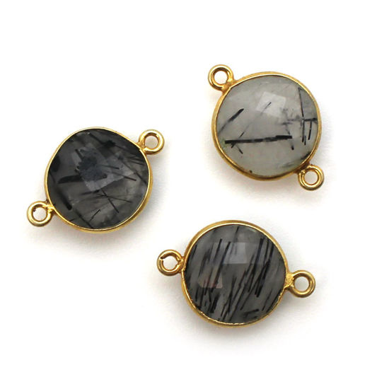 Wholesale Bezel Gemstone Links - Gold Plated Sterling Silver - Faceted Coin Shape - Black Rutilated Quartz