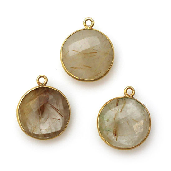 Wholesale Gold plated Sterling Silver Round Bezel Gold Rutilated Quartz Quartz Gemstone Pendant, Wholesale Gemstone Pendants for Jewelry Making