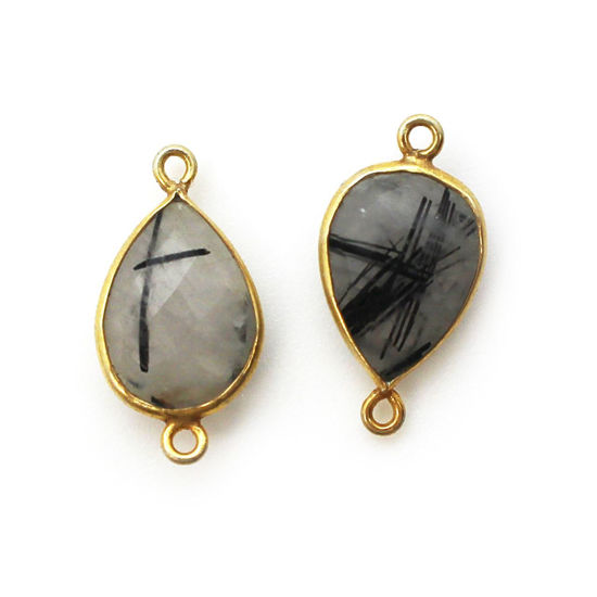 Wholesale Bezel Gemstone Links- 10x14mm Faceted Pear - Black Rutilated Quartz