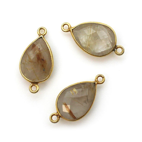 Wholesale Bezel Gemstone Links- 10x14mm Faceted Pear - Gold Rutilated Quartz