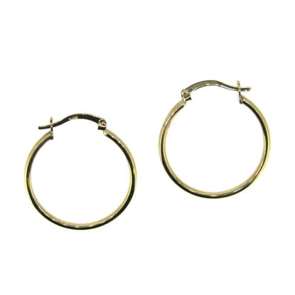 Wholesale 14K Solid Gold Plain Hoop Earrings  - 25mm (Sold per pair)