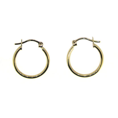 Wholesale 14K Solid Gold Plain Hoop Earrings  - 17mm (Sold per pair)