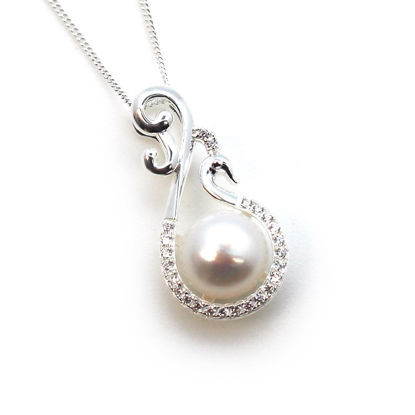 Wholesale Sterling Silver White Freshwater Pearl and Fancy Peacock CZ Stone Pendant Necklace-16""