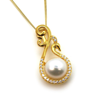 Wholesale Gold Over Sterling Silver White Freshwater Pearl and Fancy Peacock CZ Stone Pendant Necklace-16""