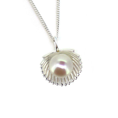 Wholesale Sterling Silver White Freshwater Pearl Clam Shell Pendant Necklace-18""