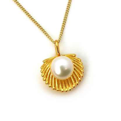 Wholesale Gold Over Sterling Silver White Freshwater Pearl Clam Shell Pendant Necklace-18""