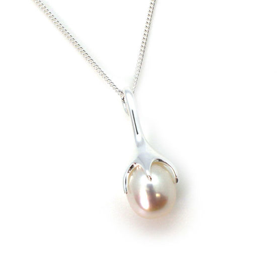 """Wholesale Sterling Silver White Freshwater Pearl Flower Bud Pendant Necklace-18"""""""