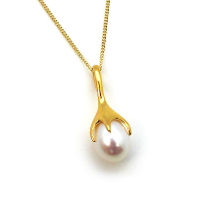 Wholesale Gold Over Sterling Silver White Freshwater Pearl Flower Bud Pendant Necklace-18""