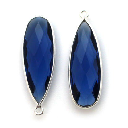 Wholesale Sterling Silver Bezel Charm Pendant - 34x11mm Elongated Teardrop - Blue Iolite Quartz