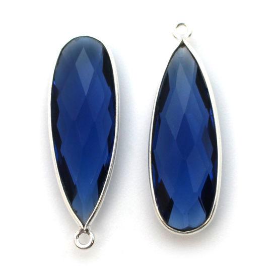 Wholesale Sterling Silver Bezel Charm Pendant - 34x11mm Elongated Teardrop - Blue Iolite Quartz