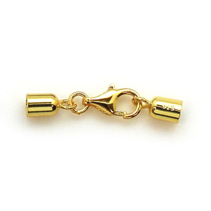 Wholesale Gold Over Sterling Silver Smooth Tube End Cap and Clasp Set - 3.5mm (1 set)