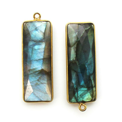 Wholesale Gold Over Sterling Silver Bezel Pendant - 34x11mm Elongated Rectangle Shape - Labradorite