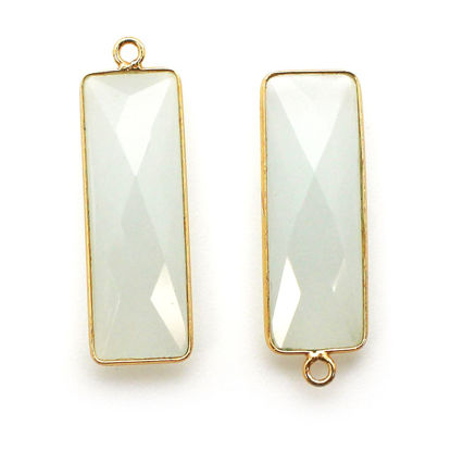 Wholesale Gold Over Sterling Silver Bezel Charm Pendant - 34x11mm Elongated Rectangle Shape - Aqua Chalcedony