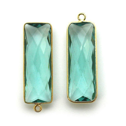 Wholesale Gold Over Sterling Silver Bezel Charm Pendant - 34x11mm Elongated Rectangle Shape - Aqua Quartz - March Birthstone