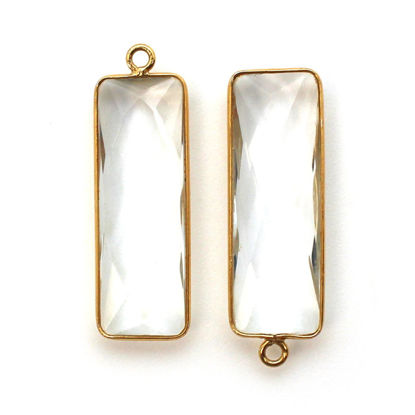 Wholesale Gold Over Sterling Silver Bezel Charm Pendant - 34x11mm Elongated Rectangle Shape - Crystal Quartz - April Birthstone