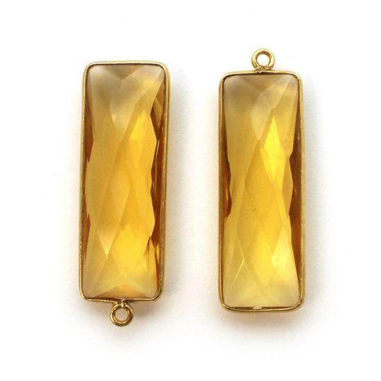 Wholesale Gold Over Sterling Silver Bezel Charm Pendant - 34x11mm Elongated Rectangle Shape - Citrine Quartz - November Birthstone