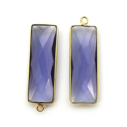 Wholesale Gold Over Sterling Silver Bezel Pendant - 34x11mm Elongated Rectangle Shape - Iolite Quartz