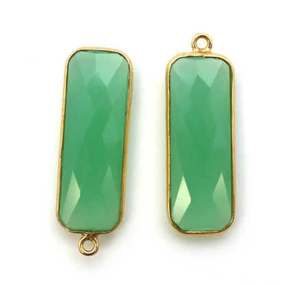 Wholesale Gold Over Sterling Silver Bezel Pendant - 34x11mm Elongated Rectangle Shape - Prehnite Chalcedony