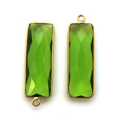 Wholesale Gold Over Sterling Silver Bezel Pendant - 34x11mm Elongated Rectangle Shape - Peridot Quartz - August Birthstone