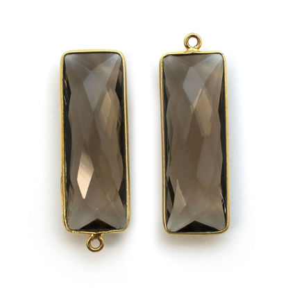 Wholesale Gold Over Sterling Silver Bezel Pendant - 34x11mm Elongated Rectangle Shape - Smoky Quartz