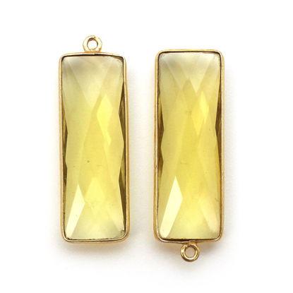 Wholesale Gold Over Sterling Silver Bezel Pendant - 34x11mm Elongated Rectangle Shape - Lemon Quartz