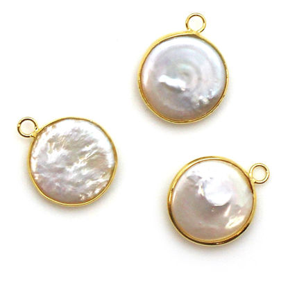Wholesale Gold plated Sterling Silver Round Bezel Smooth Freshwater Pearl Pendant, Wholesale Gemstone Pendants for Jewelry Making
