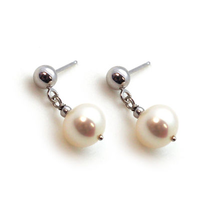Wholesale 14K White Gold Ball Stud Drop Dangle Freshwater Pearl Earrings