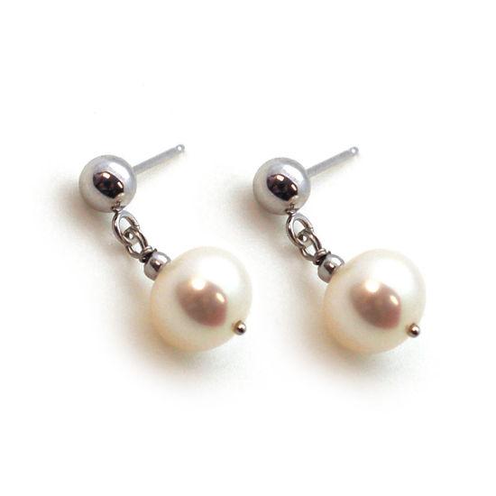 Wholesale 14K White Gold Ball Stud Drop Dangle Freshwater Pearl Earrings