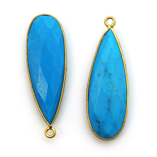 Wholesale Gold plated Sterling Silver Elongated Teardrop Bezel Turquoise Quartz Gemstone Pendant, Wholesale Gemstone Pendants for Jewelry Making