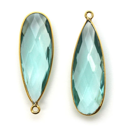 Wholesale Gold plated Sterling Silver Elongated Teardrop Bezel Aqua Quartz Gemstone Pendant, Wholesale Gemstone Pendants for Jewelry Making