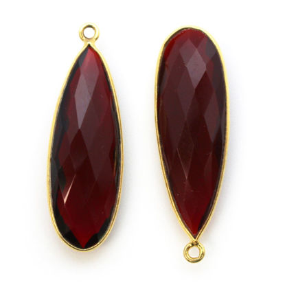Wholesale Gold plated Sterling Silver Elongated Teardrop Bezel Garnet Quartz Gemstone Pendant, Wholesale Gemstone Pendants for Jewelry Making