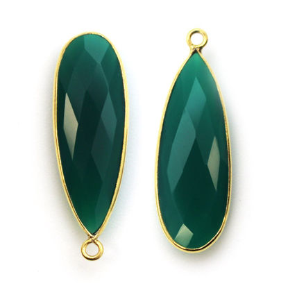 Wholesale Gold plated Sterling Silver Elongated Teardrop Bezel Green Onyx Gemstone Pendant, Wholesale Gemstone Pendants for Jewelry Making