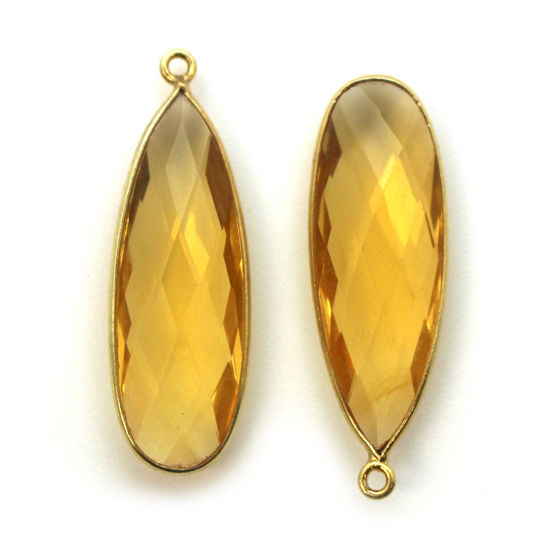 Wholesale Gold plated Sterling Silver Elongated Teardrop Bezel Citrine Quartz Gemstone Pendant, Wholesale Gemstone Pendants for Jewelry Making
