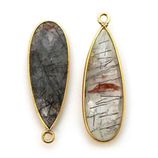 Wholesale Gold plated Sterling Silver Elongated Teardrop Bezel Black Rutilated Quartz Gemstone Pendant, Wholesale Gemstone Pendants for Jewelry Making