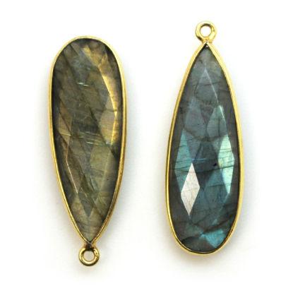 Wholesale Gold plated Sterling Silver Elongated Teardrop Bezel Labradorite Gemstone Pendant, Wholesale Gemstone Pendants for Jewelry Making