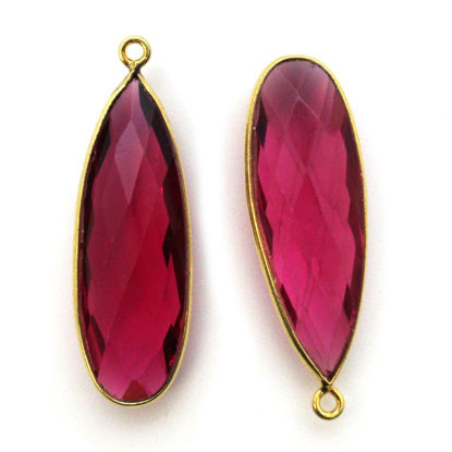 Wholesale Gold plated Sterling Silver Elongated Teardrop Bezel Rubellite Quartz Gemstone Pendant, Wholesale Gemstone Pendants for Jewelry Making
